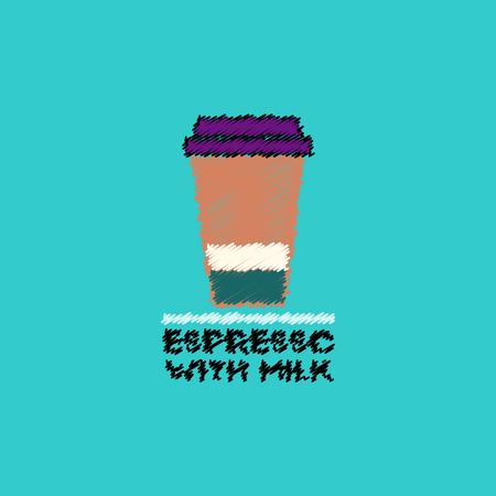 flat vector icon design collection  espresso with milk