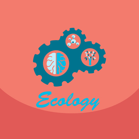 Ecology problem concept in flat stile. Icons set, Vector illustration for web, info graphic. Brain trees and molecule in the gear wheel