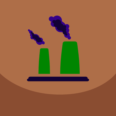 black smoke floating from Multiple smokestack with the sun at evening or morning under yellow sky background (vector)