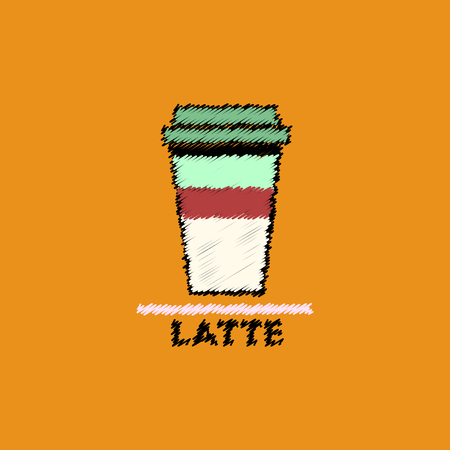 flat vector icon design collection latte to go Illustration