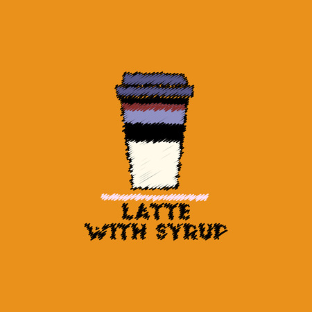 flat vector icon design collection latte with syrup
