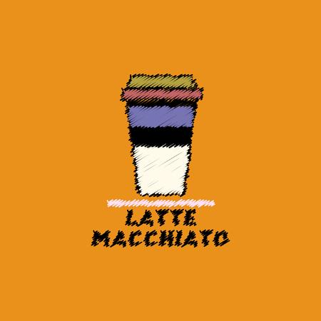 flat vector icon design collection latte macchiato to go