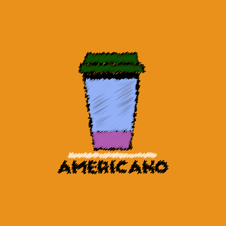 flat vector icon design collection cup of americano Illustration