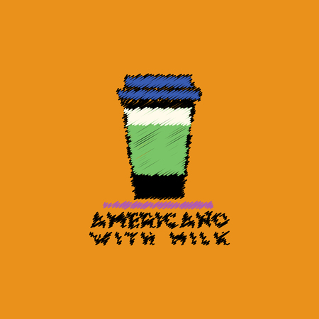 flat vector icon design collection americano with milk