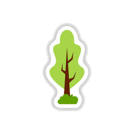 set of Labels with shadow tree vector icon tree silhouette Illustration