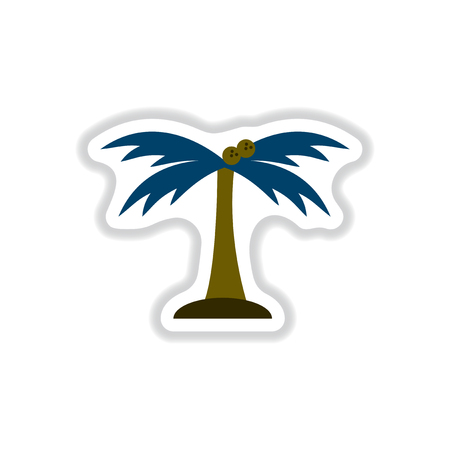Labels with shadow flat vector icon palm tree silhouette