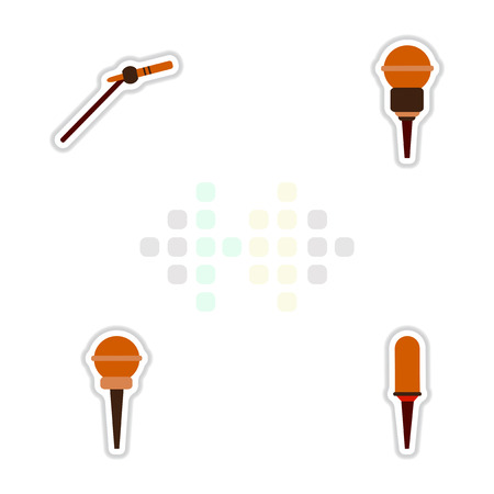 Set of color label design collection of musical microphone in flat style