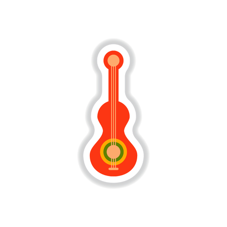 color label design collection of musical instrument guitar