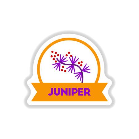 Label icon on design sticker collection kitchenware seasoning juniper with ribbon