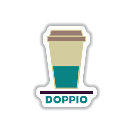 Label Frames And Badges Vector Icons Coffee Emblem Doppio To.. Stock ...