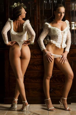 Front and backside from a sexy woman Stock Photo