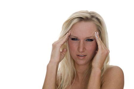 headaches: A ill woman with headaches Stock Photo