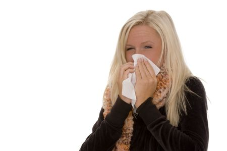 indisposition: young woman with cold or influenza Stock Photo