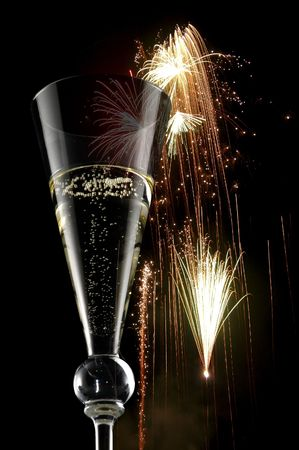 hogmanay: happy new year with champagne