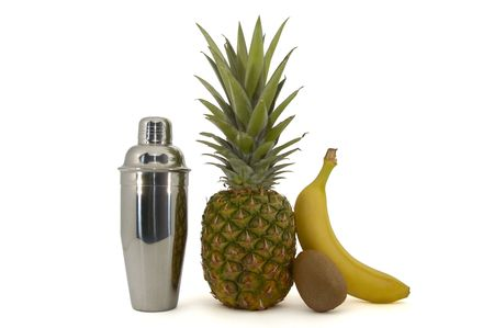 collation: Some fruits and a shaker Stock Photo