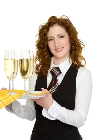 party tray: waitress