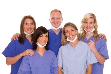 salud publica: Enfermeras y m�dicos  Foto de archivo