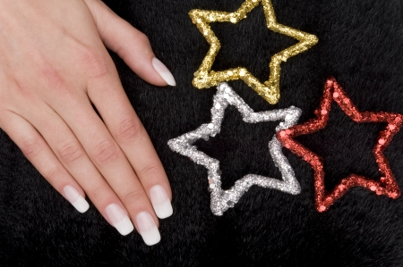 christmas manicure: manicure Stock Photo