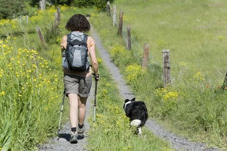 walking pole: hiking Stock Photo