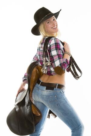western saddle: cowgirl