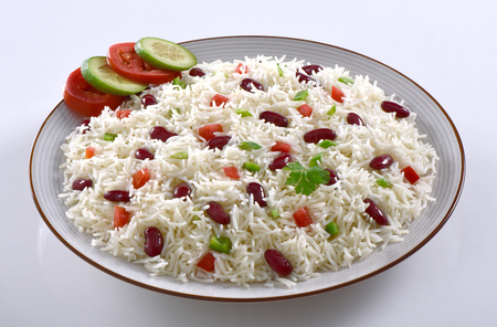 Lobia Pulao, Delicious red kidney beans with basmati rice Banco de Imagens