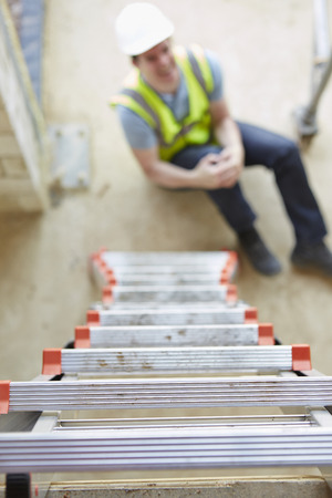 accident: Construction Worker Falling Off Ladder And Injuring Leg