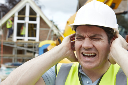 listening ear: Construction Suffering From Noise Pollution On Building Site