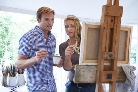 attending: Man Attending Painting Class