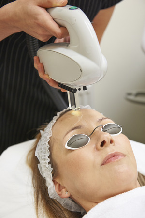 human skin: Beautician Carrying Out Intense Pulse Light Treatment