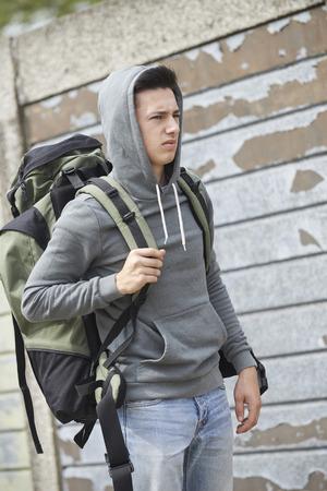 boy 18 year old: Homeless Teenage Boy On Street With Rucksack