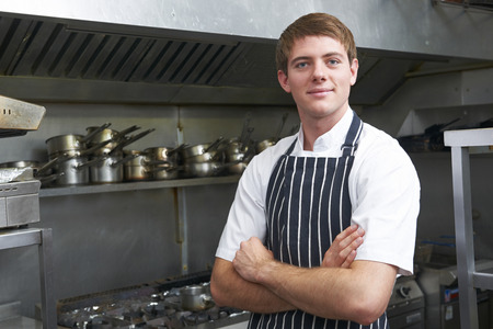 chefs whites: Portrait Of Chef In Kitchen