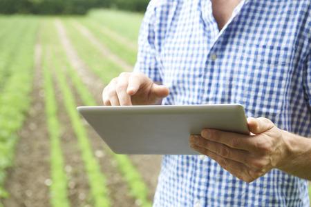 유기농 농장에서 디지털 태블릿을 사용 농부의 닫습니다