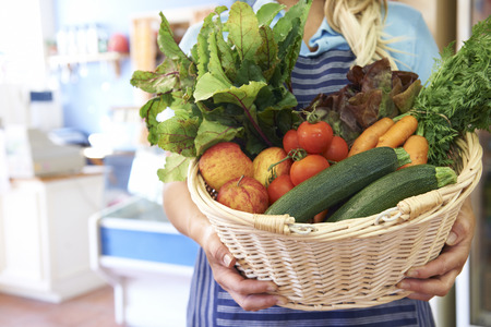 farm shop: Close Up Of Fresh Produce In Basket At Farm Shop