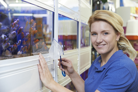 fish store: Portrait Of Female Employee In Pet Store