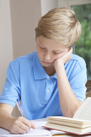 boy 12 year old: Boy At Home Finding Homework Difficult
