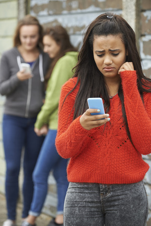 bullied: Teenage Girl Being Bullied By Text Message