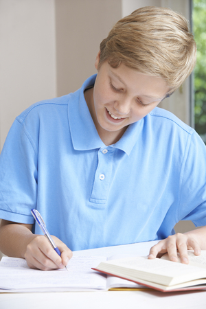 boy 12 year old: Teenage Boy Doing Homework At Table Stock Photo