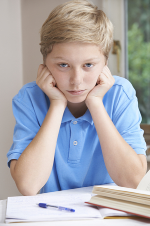 boy 12 year old: Portrait Of Boy Struggling With Homework Stock Photo