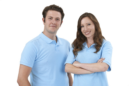 technical support: Studio Portrait Of Staff Wearing Uniform Against White Background Stock Photo