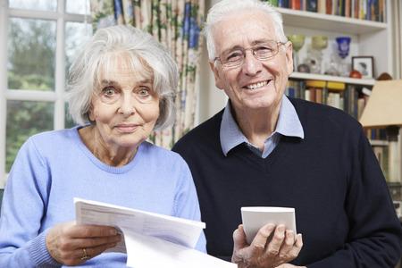 home finances: Portrait Of Smiling Senior Couple Reviewing Home Finances