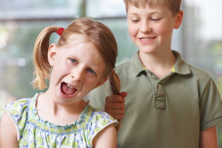 brother sister: Boy Bullying Girl By Pulling Hair