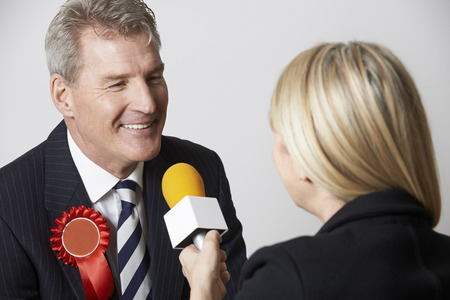 mp: Politician Being Interviewd By Journalist During Election