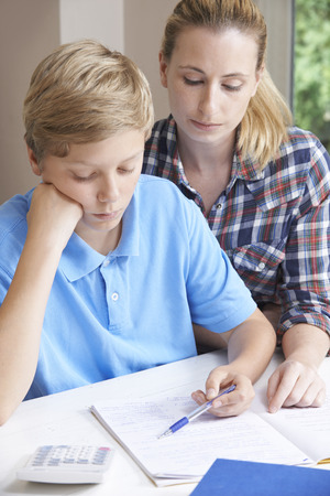 home trainer: Female Home Tutor Helping Boy With Studies