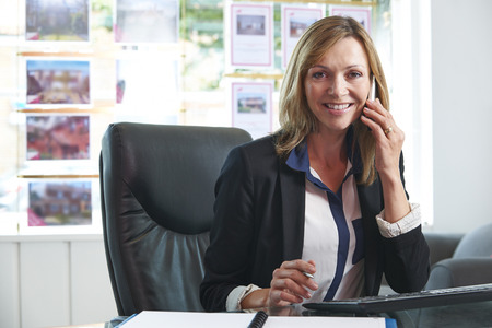 one person: Estate Agent On Phone In Office