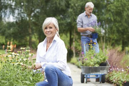hobbies: Mature Couple Shopping At Garden Centre