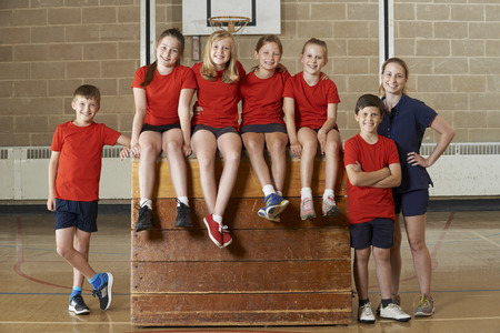 school gym: Portrait Of School Gym Team Sitting On Vaulting Horse Stock Photo