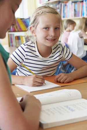 child portrait: Elementary School Pupil Working At Desk In Classroom Stock Photo