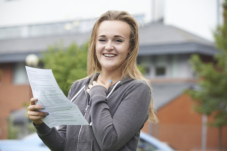 results: Teenage Girl Happy With Good Exam Results