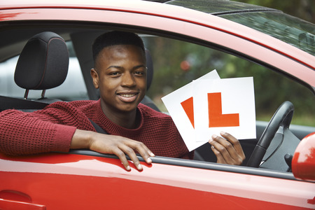 l plate: Smiling Teenage Boy In Car Passing Driving Exam