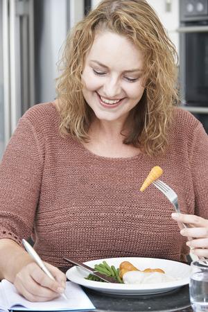 mujer gorda: Mujer en la dieta de Escritura Detalles En Diario de Alimentos